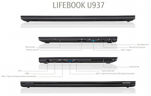 Ноутбук Fujitsu LIFEBOOK U937 black, Full HD IPS Non-Touch Anti-glare + порт-репликатор Type-C KIT Fujitsu LKN:U9370M0001RU/SSD1TB
